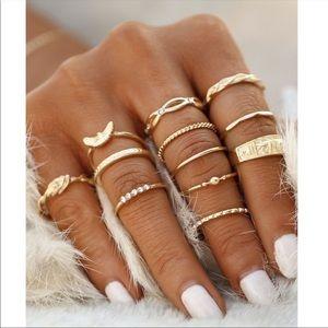 Jewelry - BUY 2 GET 1 FREE✨ 12 gold midi rings set